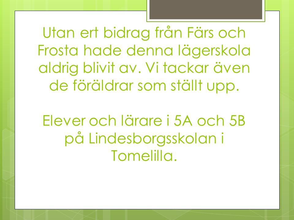 Utan ert bidrag från Färs och Frosta hade denna lägerskola aldrig blivit av.