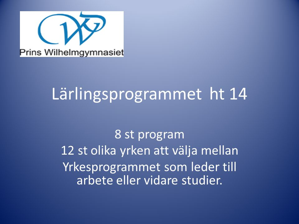 Lärlingsprogrammet ht 14
