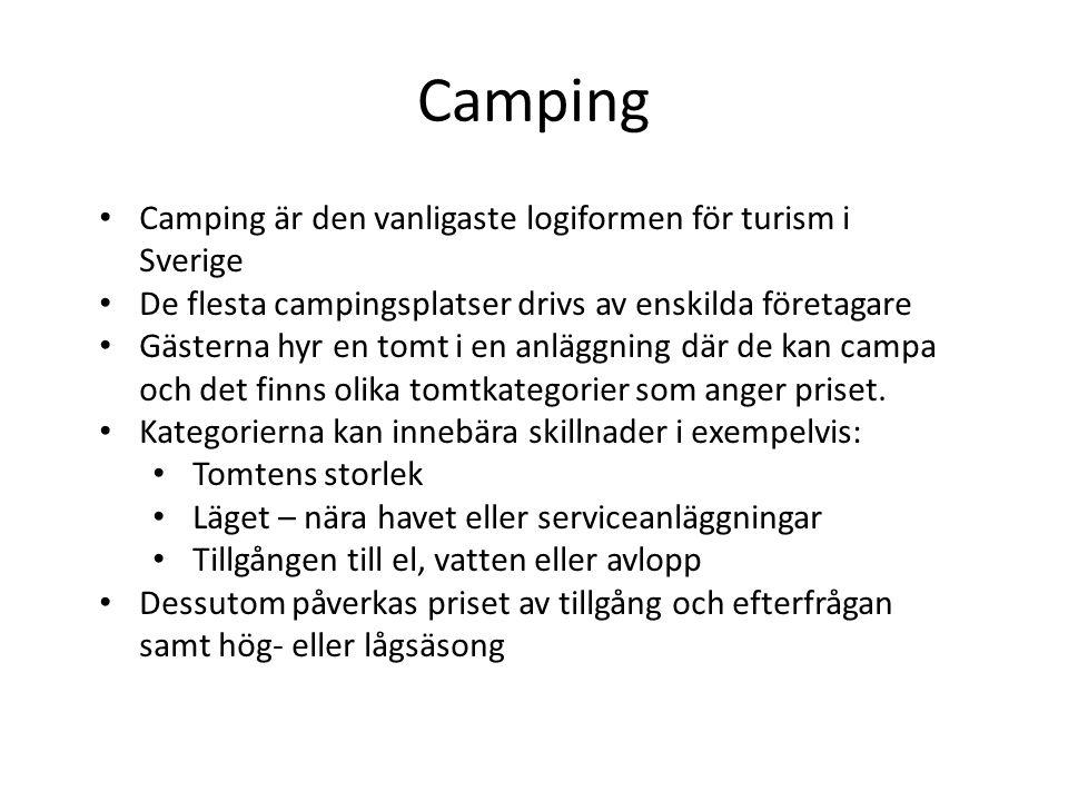 Camping Camping är den vanligaste logiformen för turism i Sverige