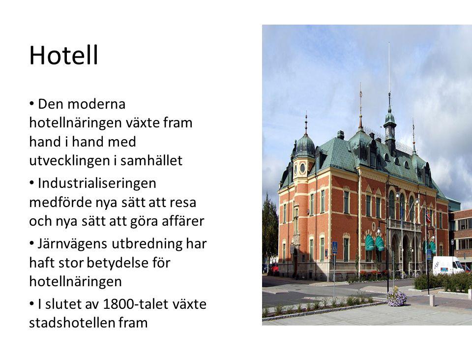 Hotell Den moderna hotellnäringen växte fram hand i hand med utvecklingen i samhället.