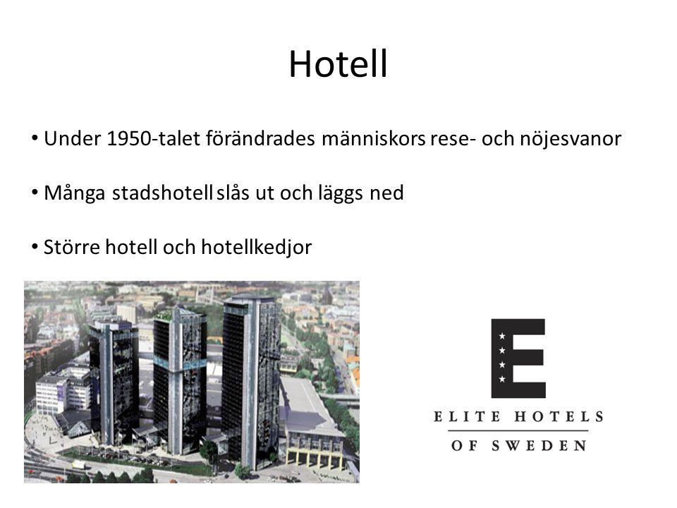 Hotell Under 1950-talet förändrades människors rese- och nöjesvanor