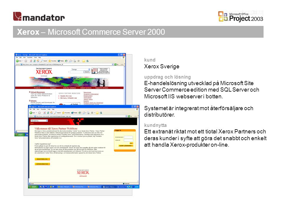 Xerox – Microsoft Commerce Server 2000