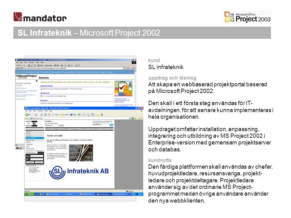 SL Infrateknik – Microsoft Project 2002