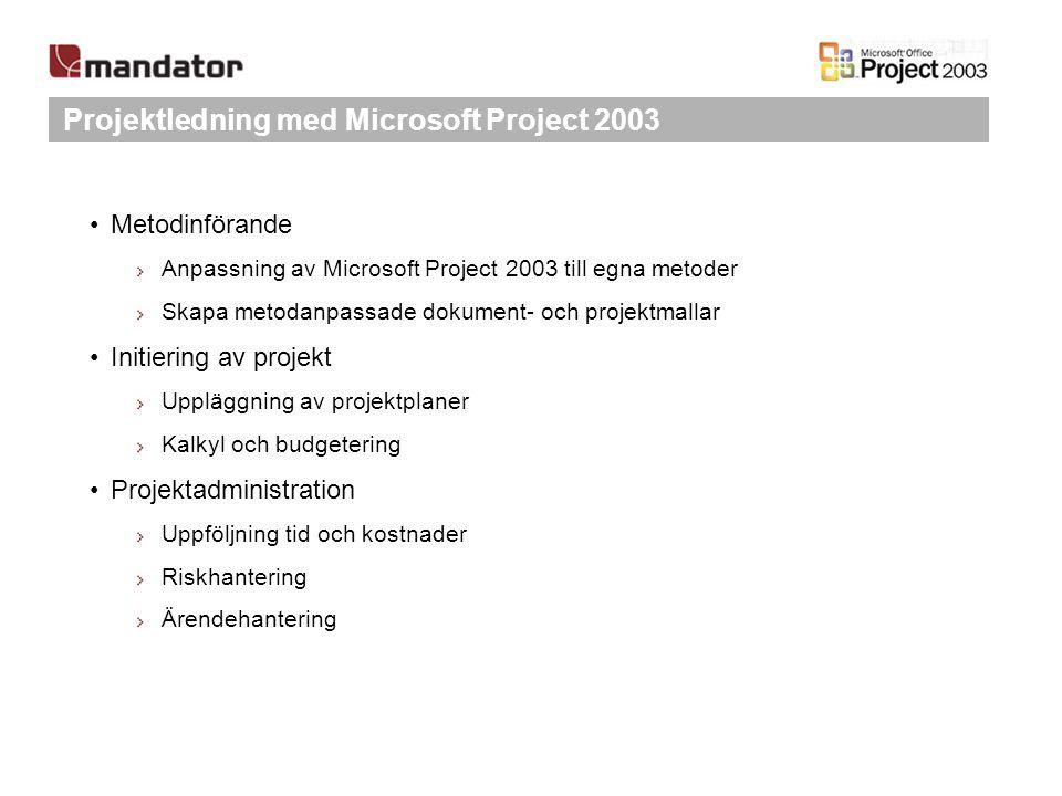 Projektledning med Microsoft Project 2003