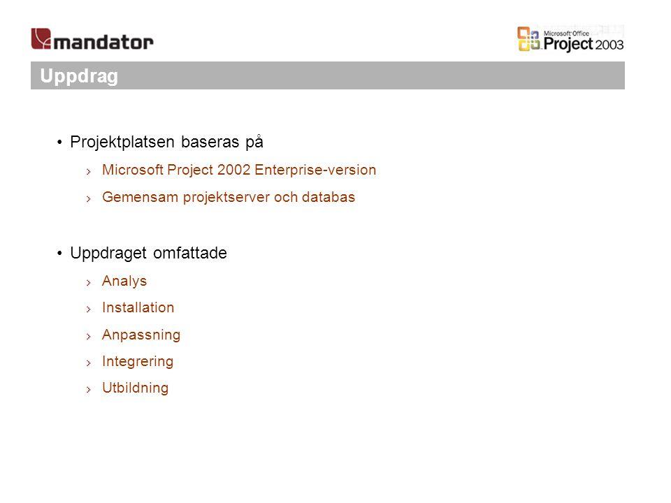 Uppdrag Projektplatsen baseras på Uppdraget omfattade
