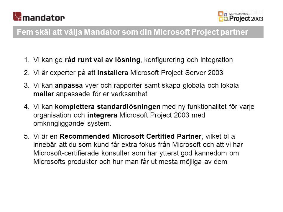 Fem skäl att välja Mandator som din Microsoft Project partner