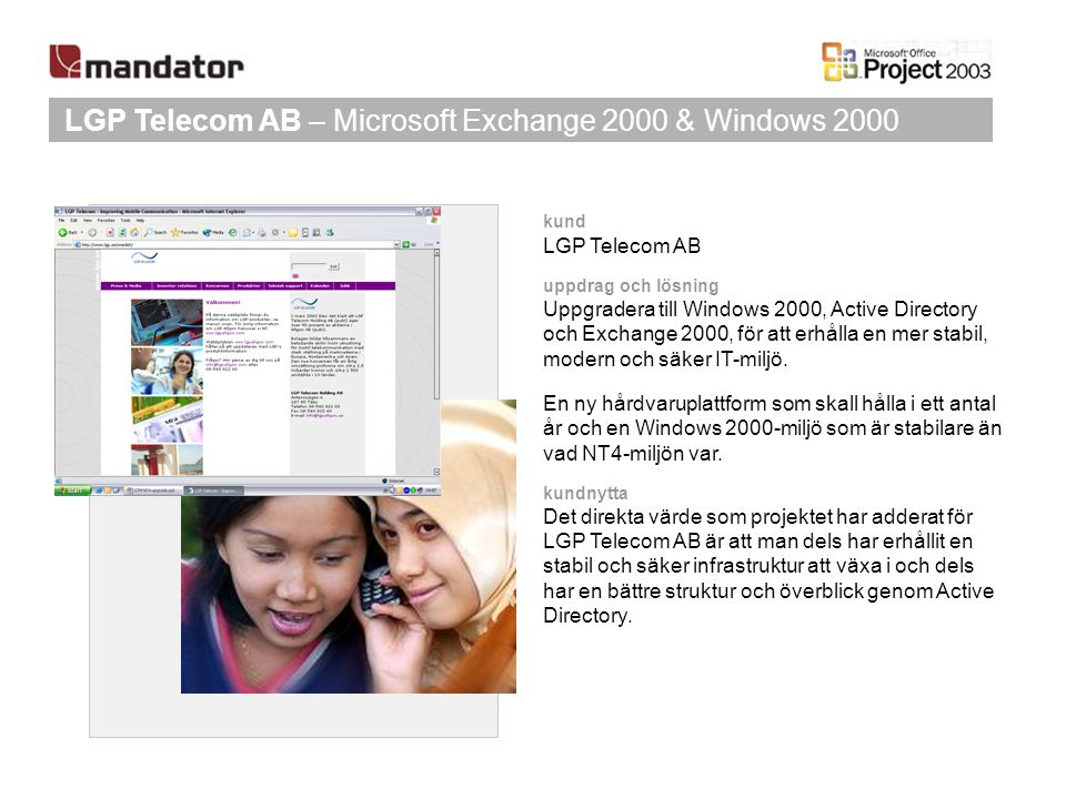 LGP Telecom AB – Microsoft Exchange 2000 & Windows 2000