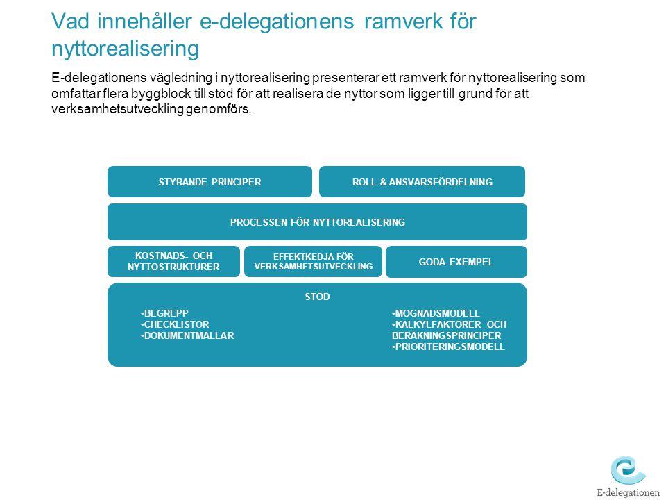 Vad innehåller e-delegationens ramverk för nyttorealisering