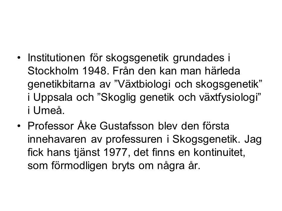 Institutionen för skogsgenetik grundades i Stockholm 1948