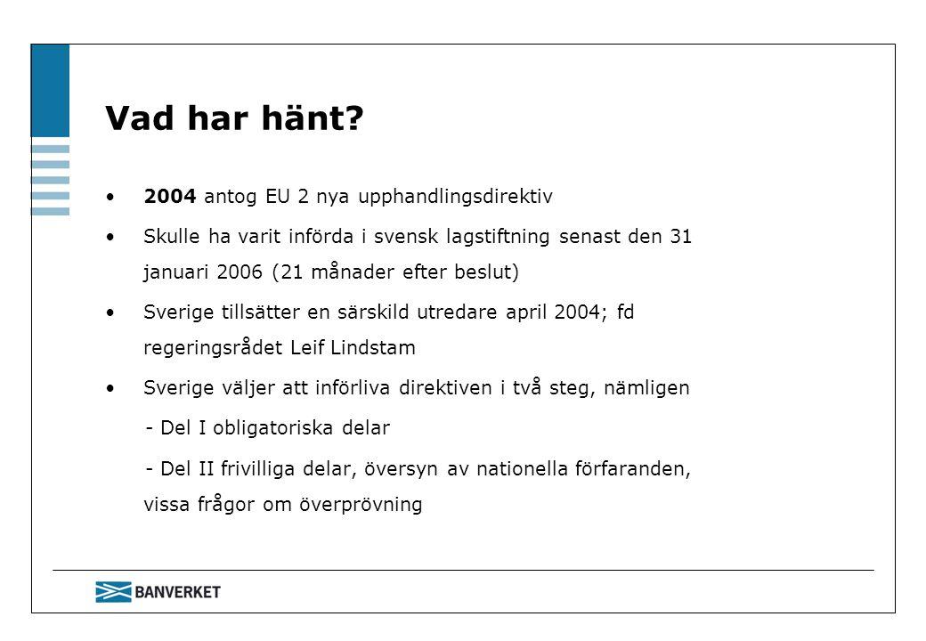 Vad har hänt 2004 antog EU 2 nya upphandlingsdirektiv
