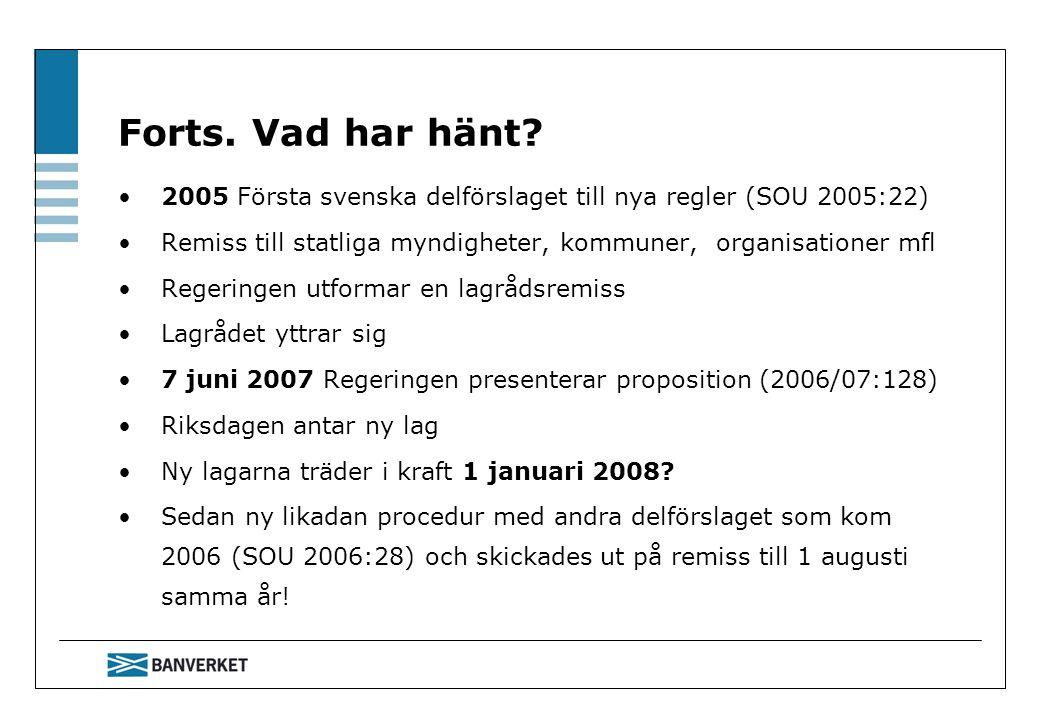 Forts. Vad har hänt 2005 Första svenska delförslaget till nya regler (SOU 2005:22) Remiss till statliga myndigheter, kommuner, organisationer mfl.