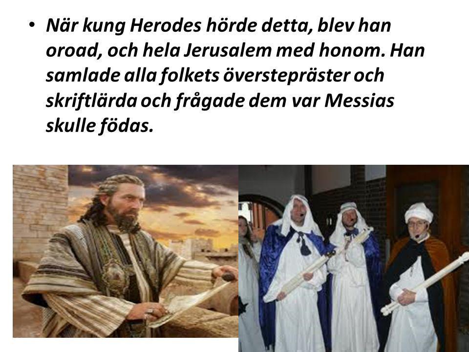 När kung Herodes hörde detta, blev han oroad, och hela Jerusalem med honom.