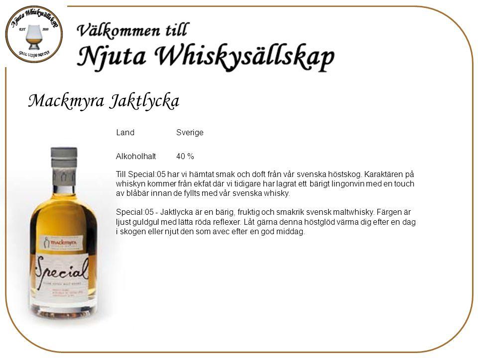 Mackmyra Jaktlycka Sverige Land 40 % Alkoholhalt