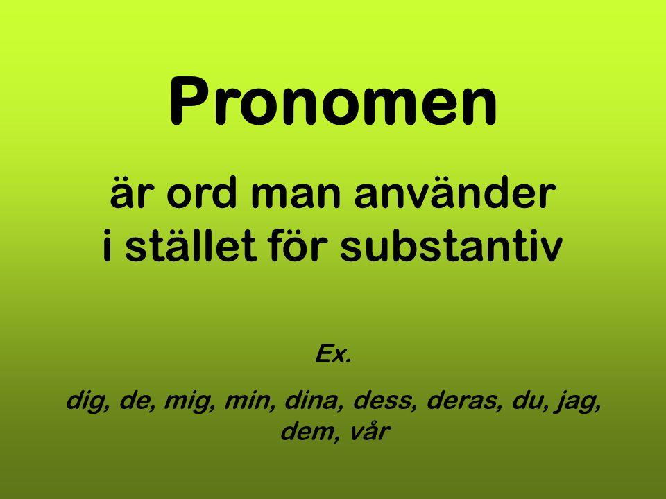 Pronomen är ord man använder i stället för substantiv Ex.
