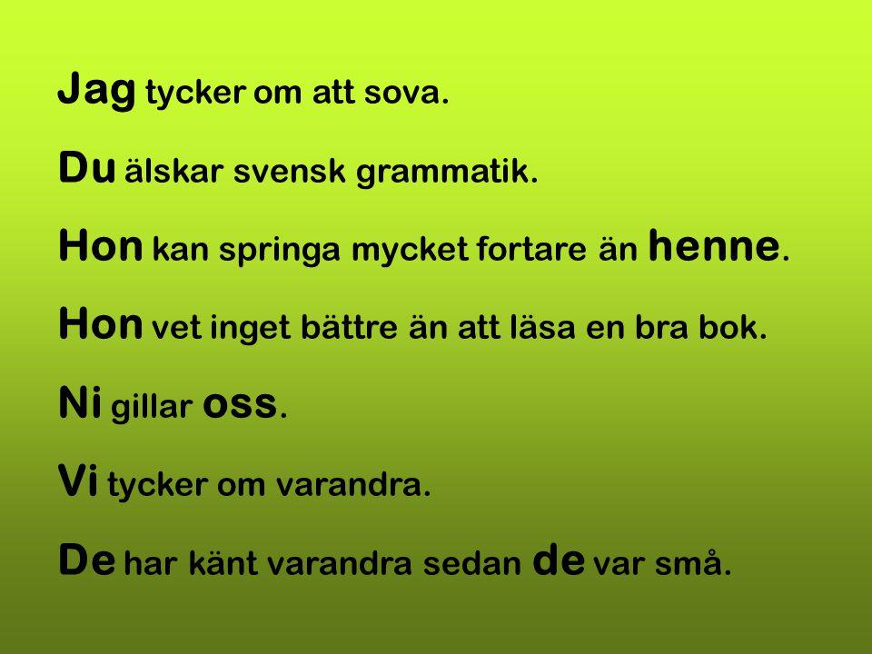 Jag tycker om att sova. Du älskar svensk grammatik. Hon kan springa mycket fortare än henne. Hon vet inget bättre än att läsa en bra bok.