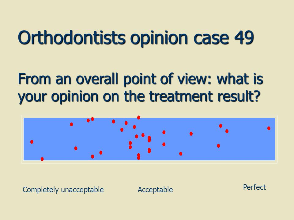 Orthodontists opinion case 49 From an overall point of view: what is your opinion on the treatment result