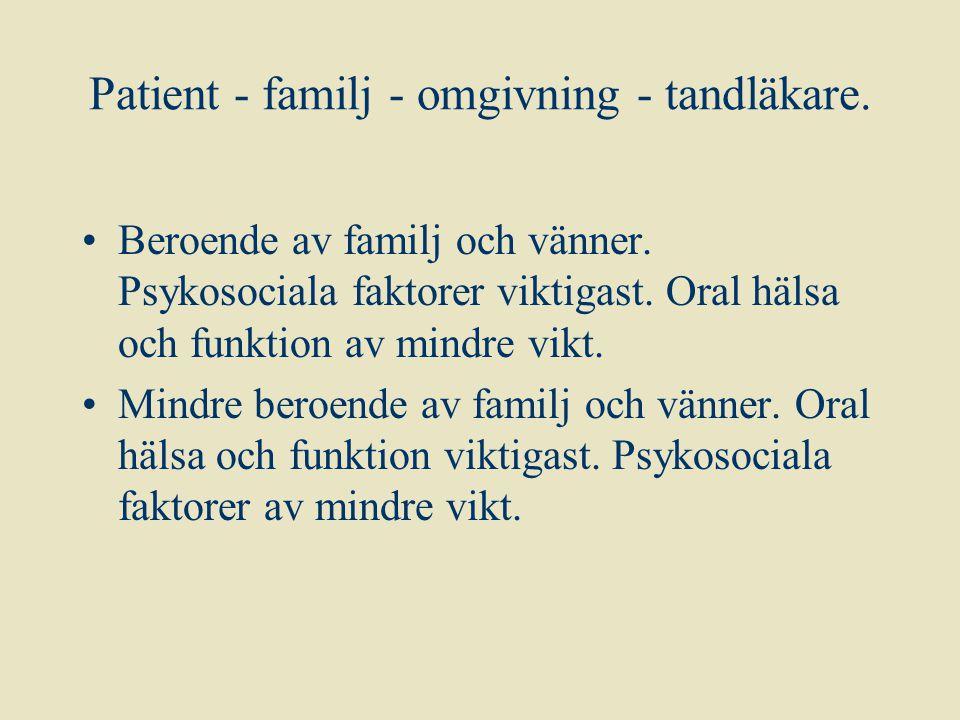 Patient - familj - omgivning - tandläkare.