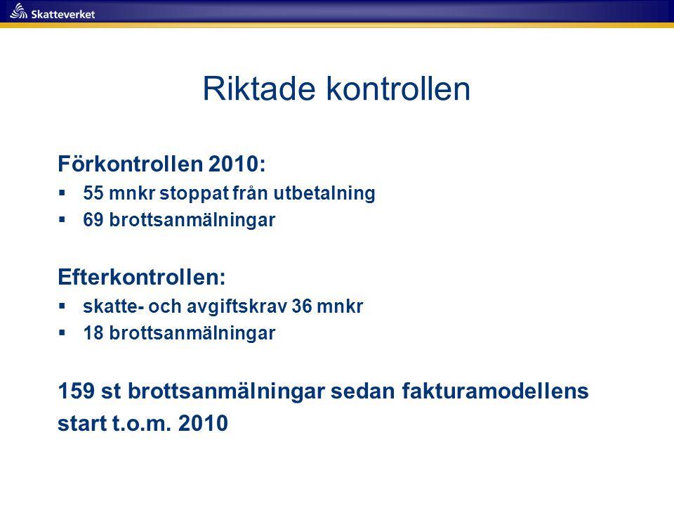 Riktade kontrollen Förkontrollen 2010: Efterkontrollen: