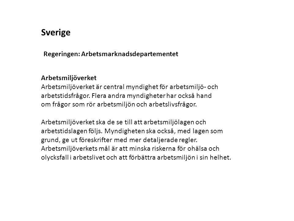 Sverige Arbetsmiljöverket Regeringen: Arbetsmarknadsdepartementet