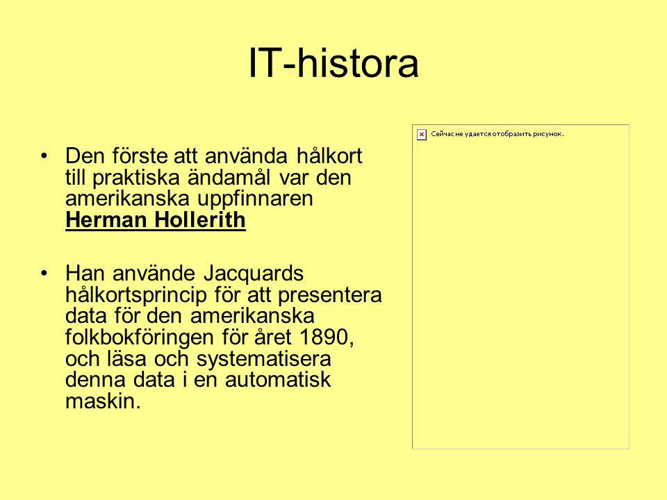 IT-histora Den förste att använda hålkort till praktiska ändamål var den amerikanska uppfinnaren Herman Hollerith.