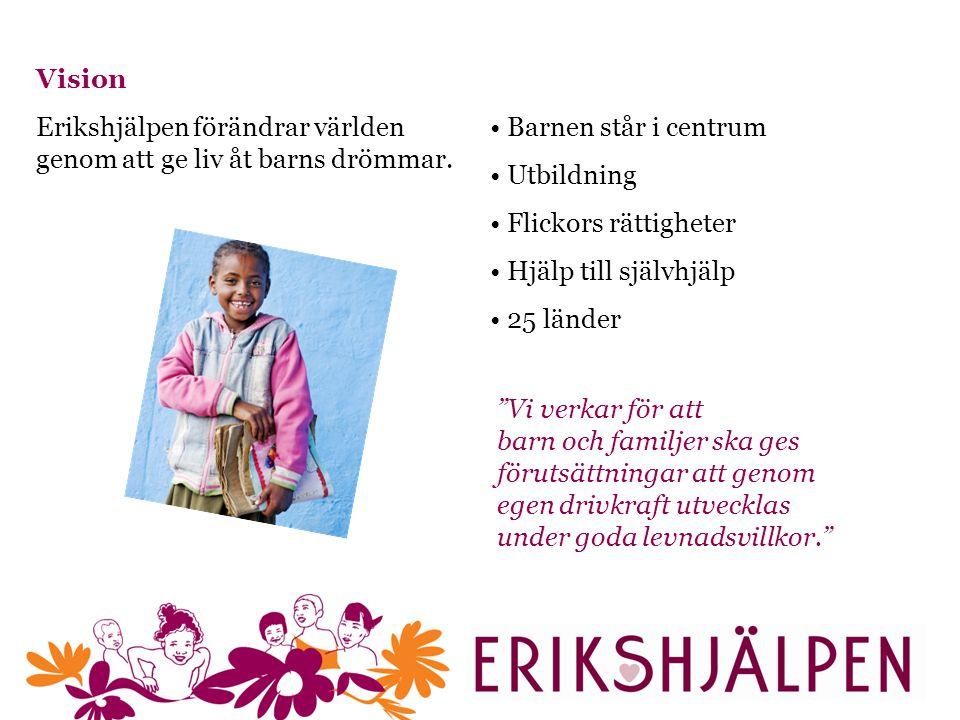 Vision Erikshjälpen förändrar världen genom att ge liv åt barns drömmar. Barnen står i centrum. Utbildning.