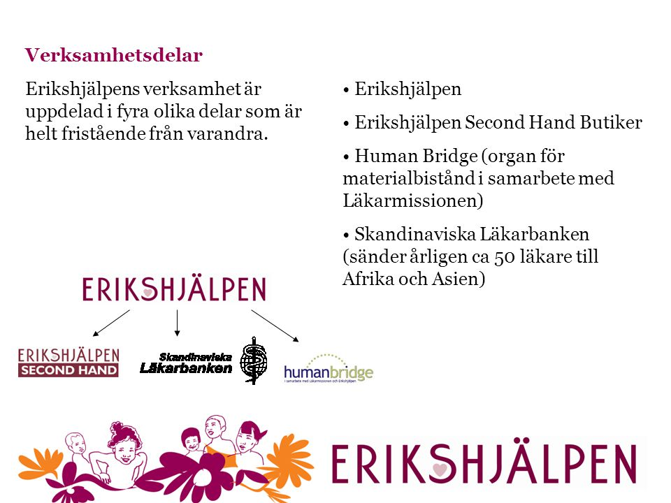 Verksamhetsdelar Erikshjälpens verksamhet är uppdelad i fyra olika delar som är helt fristående från varandra.