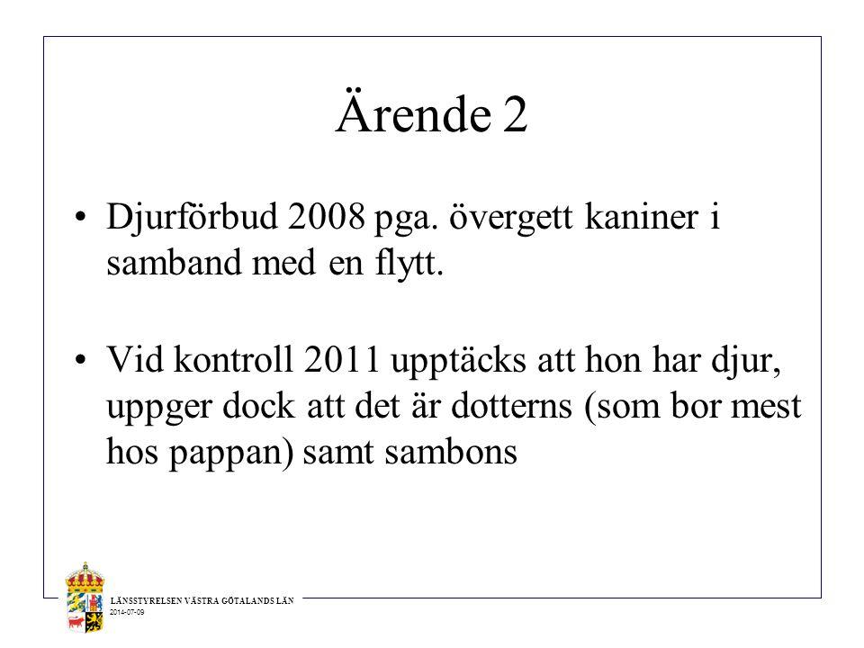 Ärende 2 Djurförbud 2008 pga. övergett kaniner i samband med en flytt.