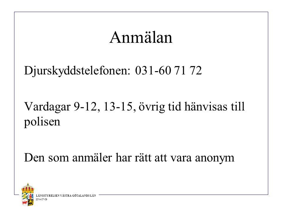 Anmälan Djurskyddstelefonen: 031-60 71 72 Vardagar 9-12, 13-15, övrig tid hänvisas till polisen Den som anmäler har rätt att vara anonym