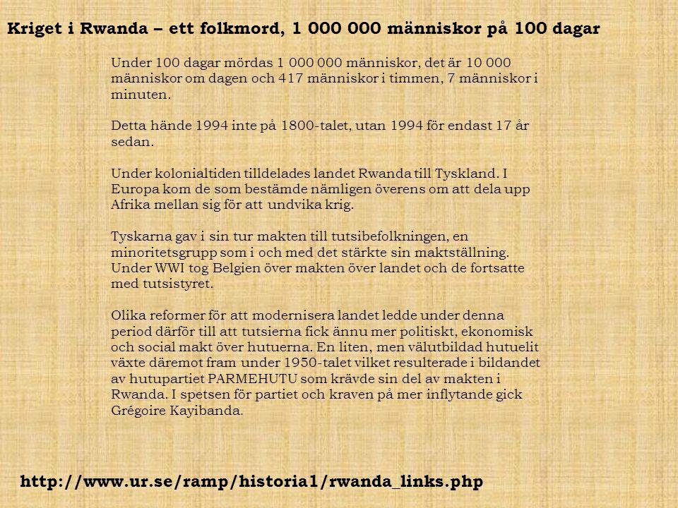 Kriget i Rwanda – ett folkmord, 1 000 000 människor på 100 dagar