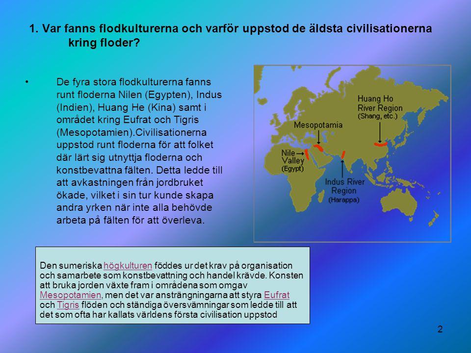 1. Var fanns flodkulturerna och varför uppstod de äldsta civilisationerna kring floder