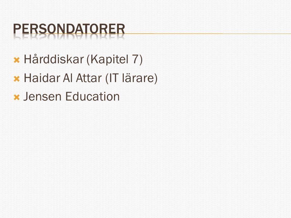 Persondatorer Hårddiskar (Kapitel 7) Haidar Al Attar (IT lärare)