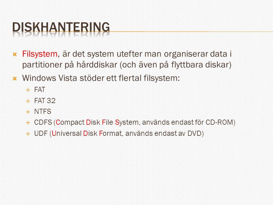 diskhantering Filsystem, är det system utefter man organiserar data i partitioner på hårddiskar (och även på flyttbara diskar)
