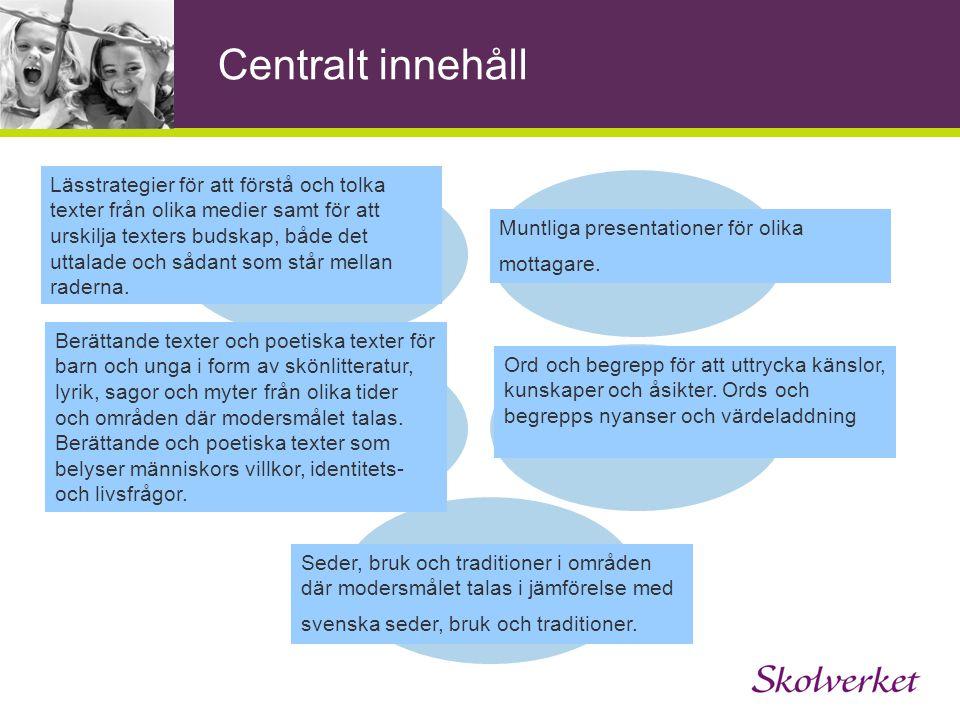 Centralt innehåll Syfte Tala, lyssna och Läsa och skriva samtala