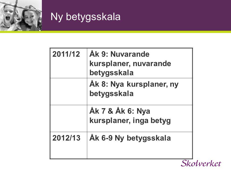 Ny betygsskala 2011/12. Åk 9: Nuvarande kursplaner, nuvarande betygsskala. Åk 8: Nya kursplaner, ny betygsskala.