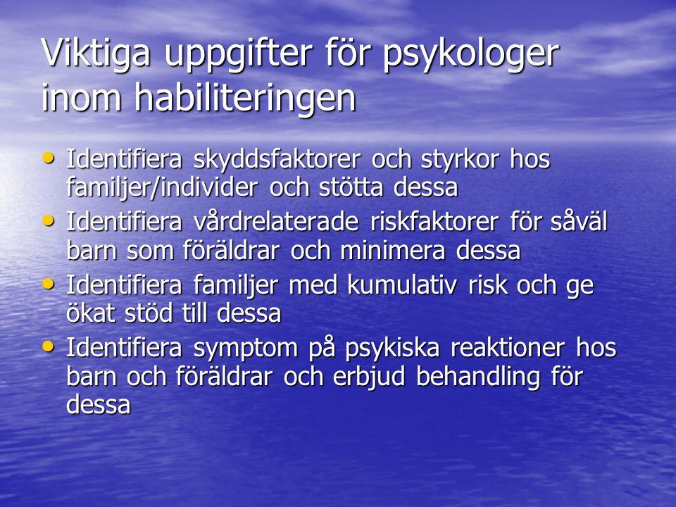 Viktiga uppgifter för psykologer inom habiliteringen