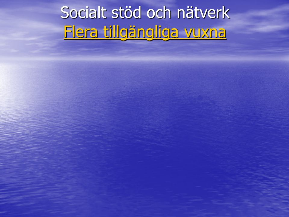 Socialt stöd och nätverk Flera tillgängliga vuxna