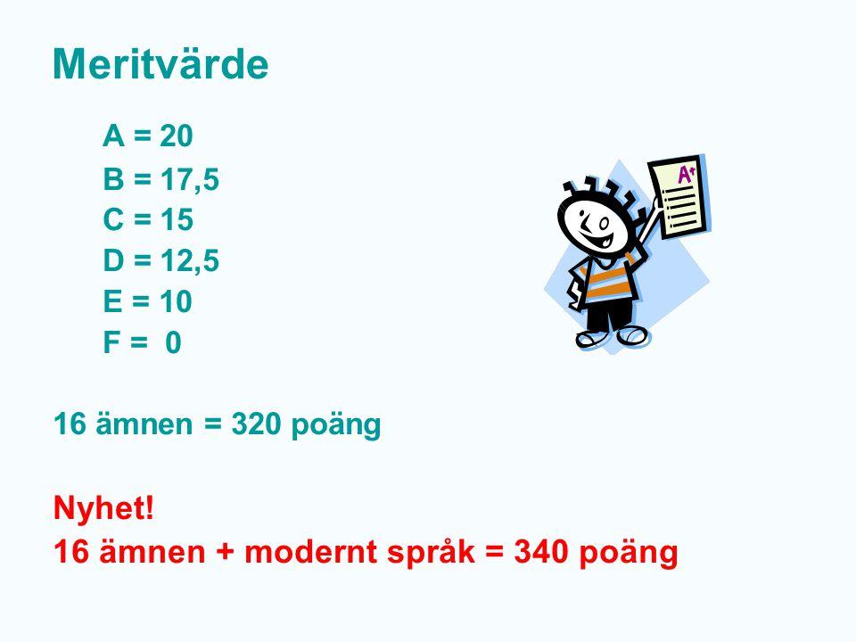 Meritvärde A = 20 Nyhet! 16 ämnen + modernt språk = 340 poäng B = 17,5