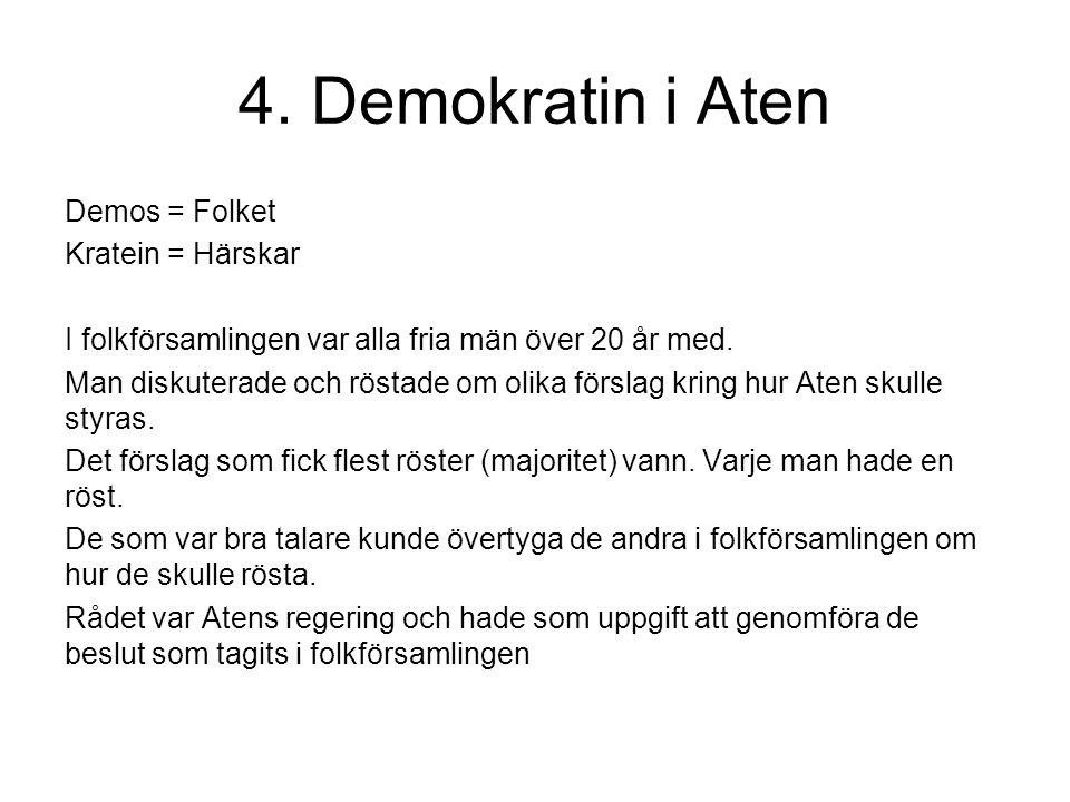 4. Demokratin i Aten Demos = Folket Kratein = Härskar