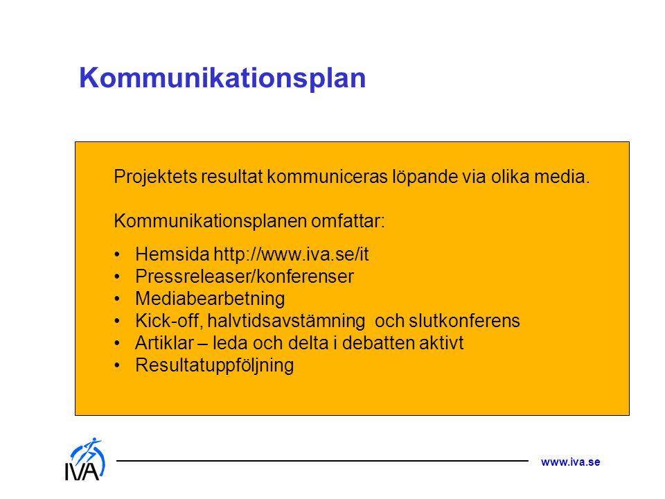 Kommunikationsplan Projektets resultat kommuniceras löpande via olika media. Kommunikationsplanen omfattar: