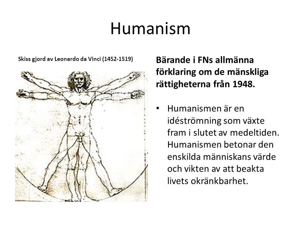 Humanism Skiss gjord av Leonardo da Vinci (1452-1519) Bärande i FNs allmänna förklaring om de mänskliga rättigheterna från 1948.