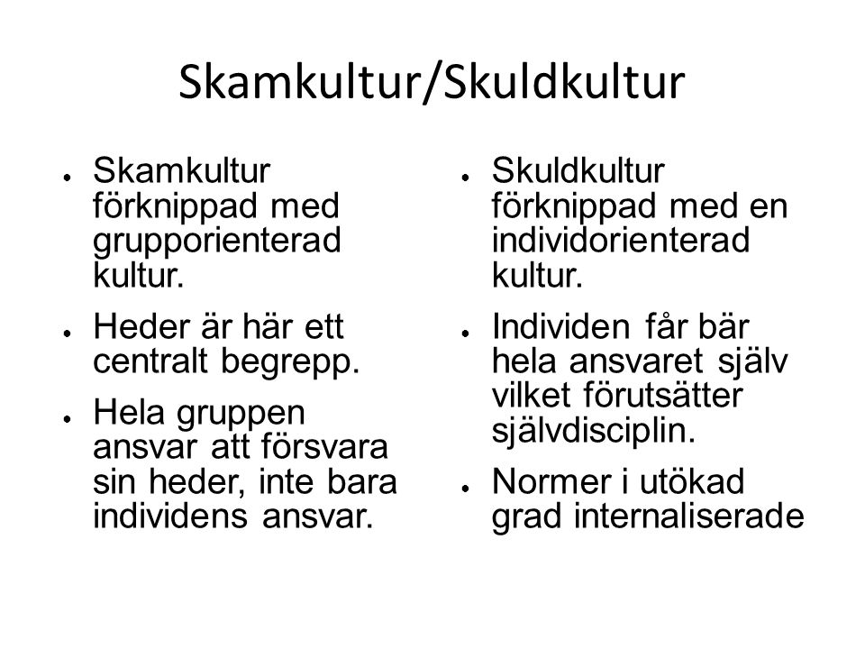 Skamkultur/Skuldkultur