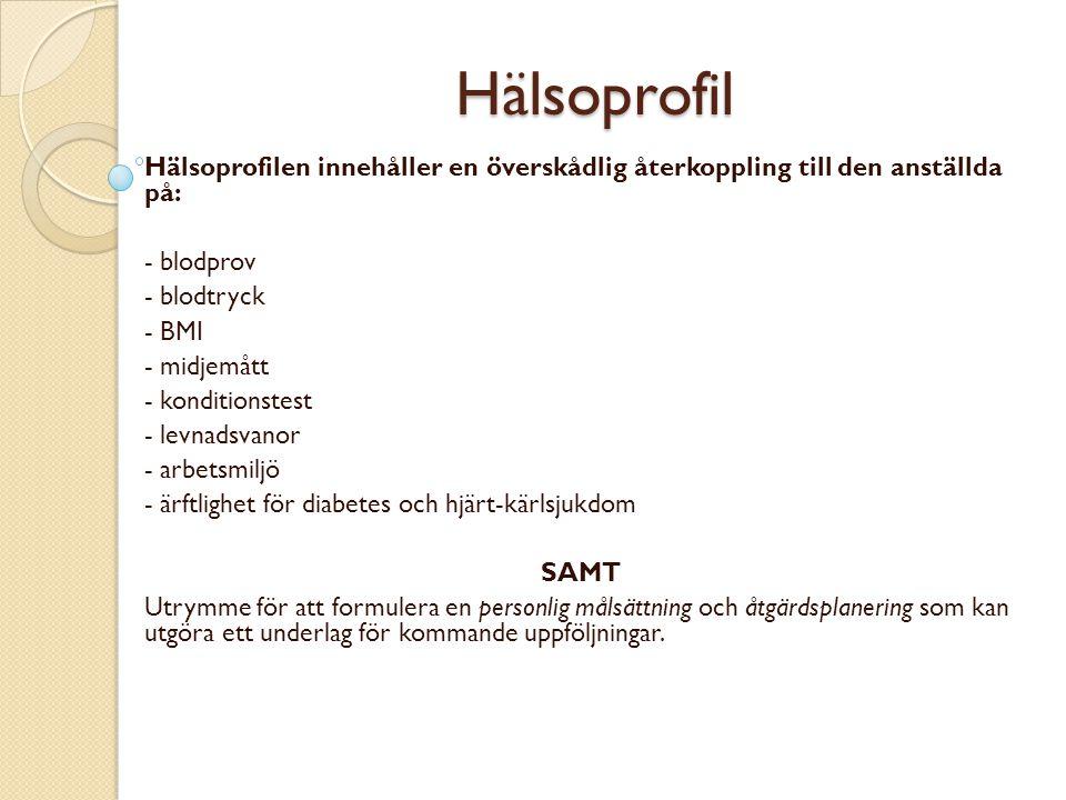 Hälsoprofil Hälsoprofilen innehåller en överskådlig återkoppling till den anställda på: - blodprov.