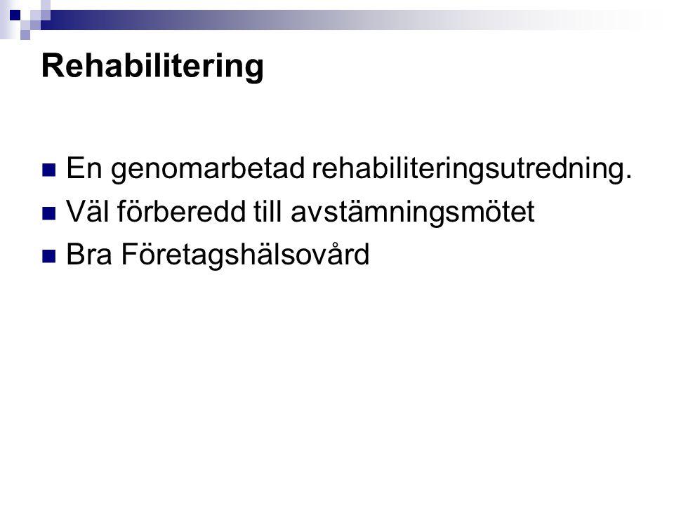 Rehabilitering En genomarbetad rehabiliteringsutredning.