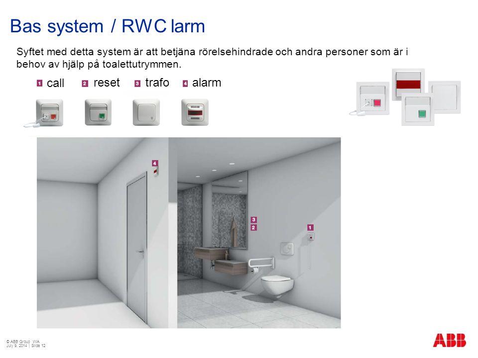 Bas system / RWC larm call reset trafo alarm