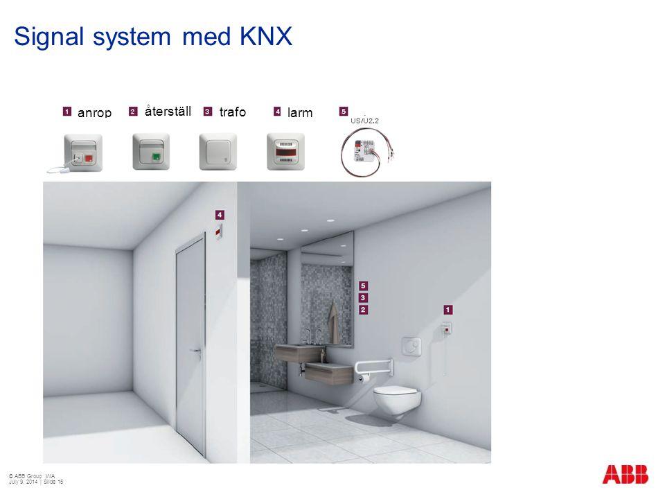 Signal system med KNX anrop återställning trafo larm © ABB Group WA
