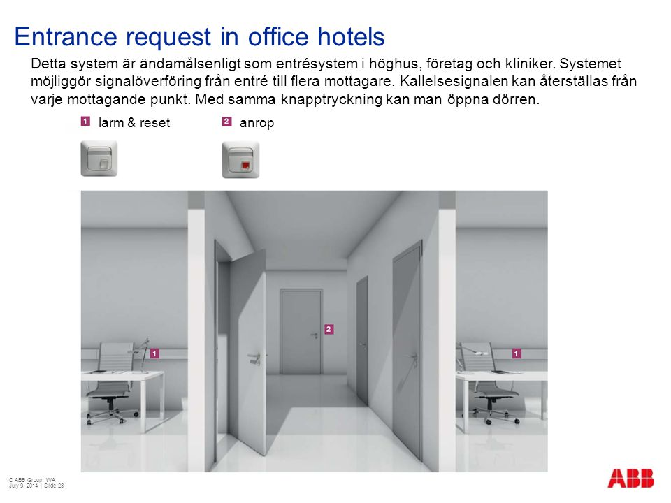 Entrance request in office hotels
