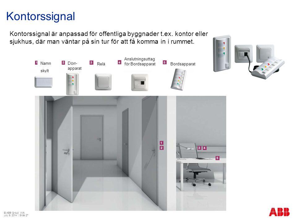 Kontorssignal Kontorssignal är anpassad för offentliga byggnader t.ex. kontor eller sjukhus, där man väntar på sin tur för att få komma in i rummet.