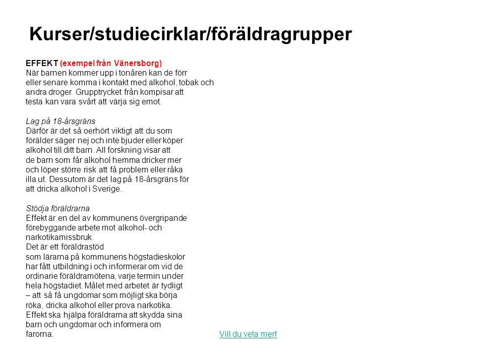 Kurser/studiecirklar/föräldragrupper