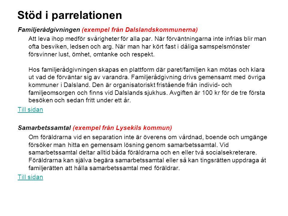 Stöd i parrelationen Familjerådgivningen (exempel från Dalslandskommunerna)
