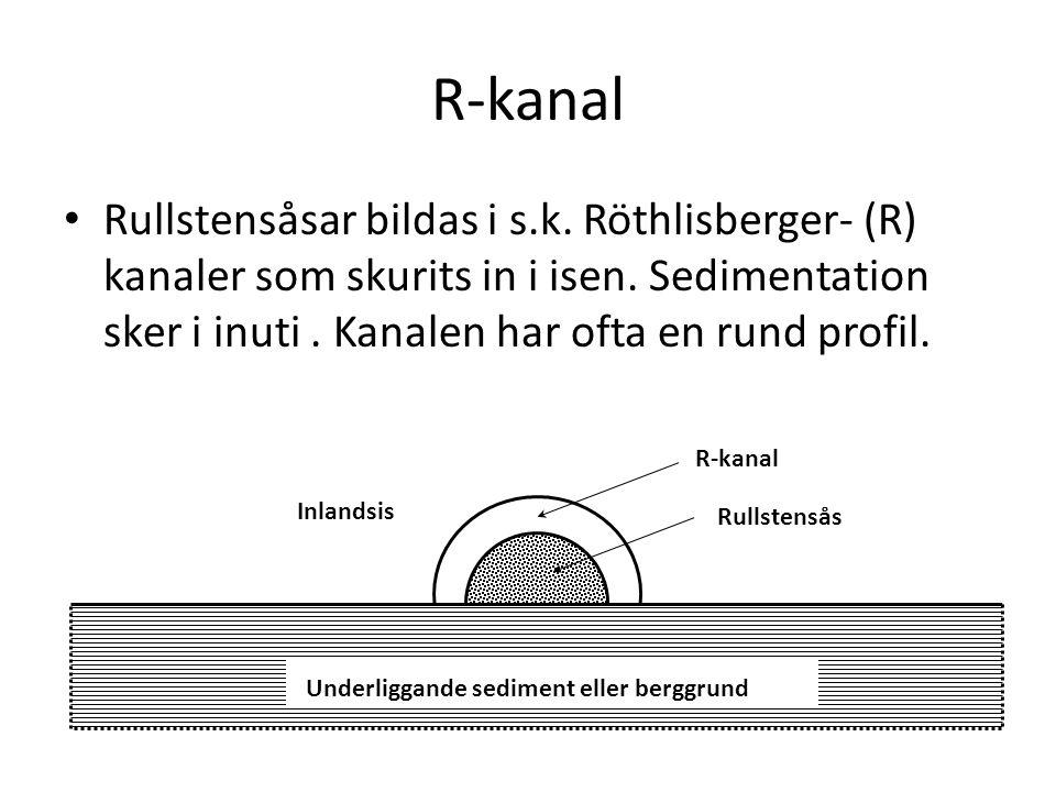 R-kanal Rullstensåsar bildas i s.k. Röthlisberger- (R) kanaler som skurits in i isen. Sedimentation sker i inuti . Kanalen har ofta en rund profil.